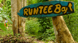 Cesta džunglí, vzadu mizí Pralesní žena